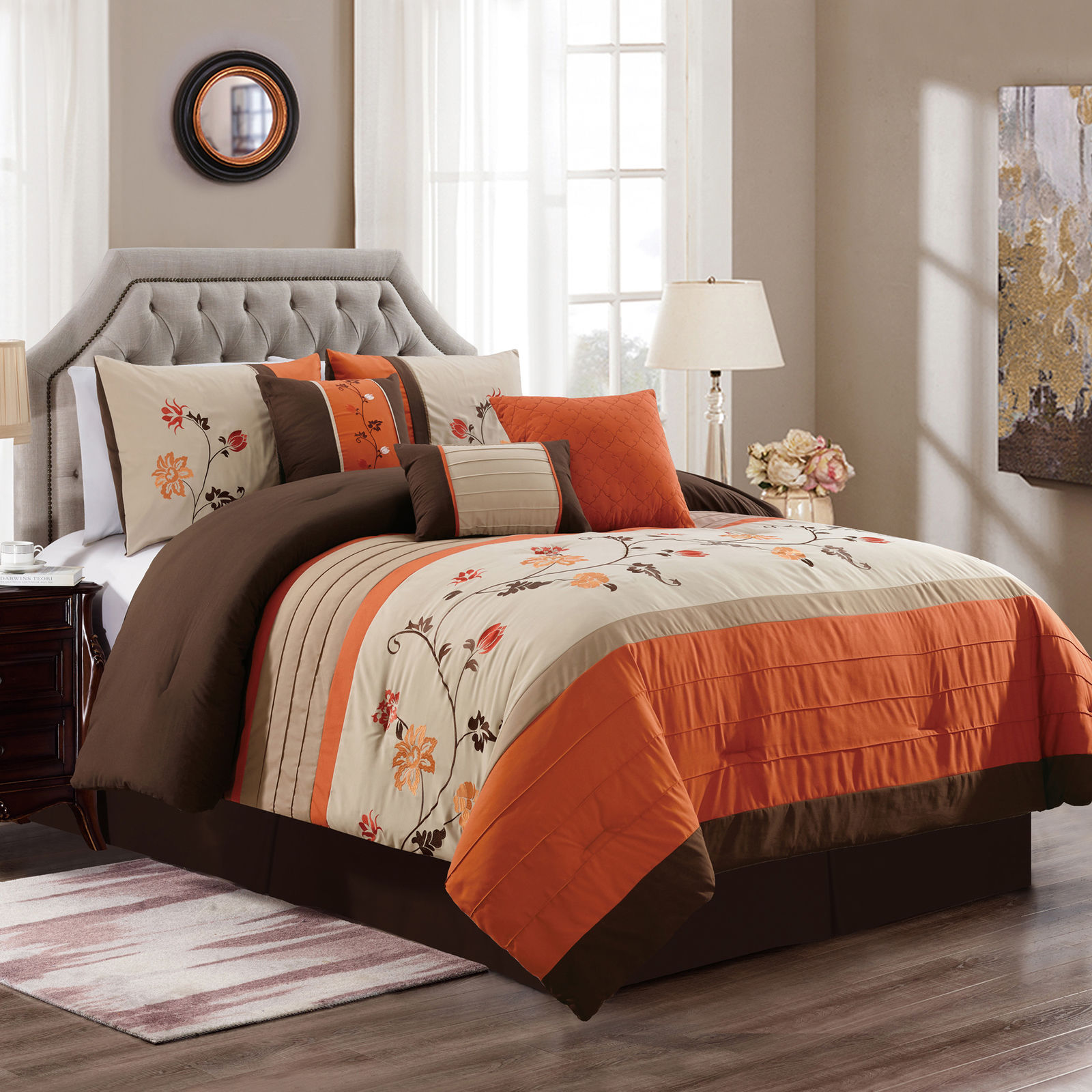 Chezmoi Collection Serene 7-Piece Floral Scroll Embroidery Pleated Striped Comforter Set
