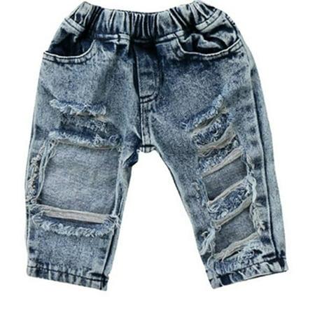 6b40b3c59 Gaono - Baby Boy Girls Destroyed Ripped Hole Denim Jeans Pant Clothing -  Walmart.com
