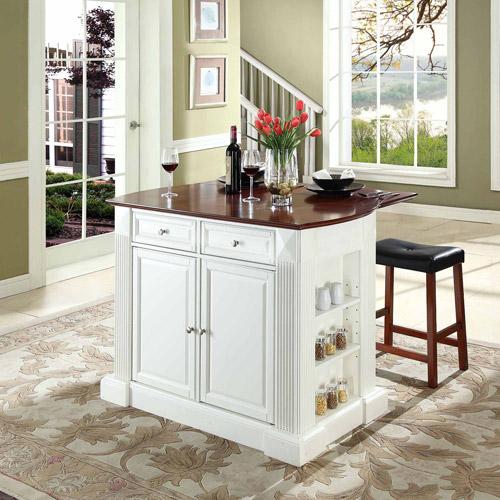"Crosley Furniture Drop Leaf Breakfast Bar Top Kitchen Island with 24"" Upholstered Saddle Stools"