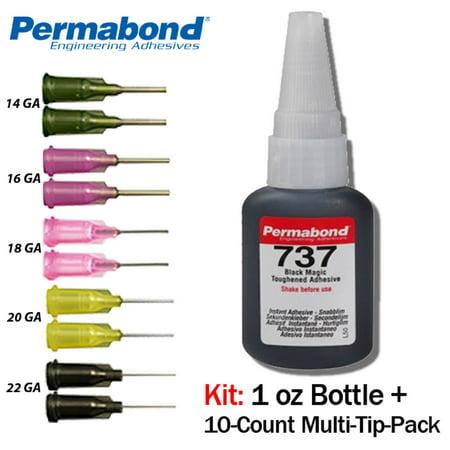 Permabond 737 Black Magic Toughened Temp-resistant Gel 1oz 10-pack+asc10
