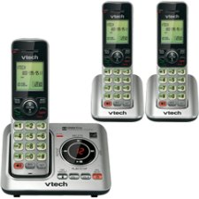 VTech CS6629-3 DECT 6.0 Expandable Cordless Phone with Answering System and Caller ID/Call Waiting, Silver with 3 Handsets - Cordless - 1 x Phone Line - 2 x Handset - Speakerphone - Answering Machine 5.8 Ghz Three Handset
