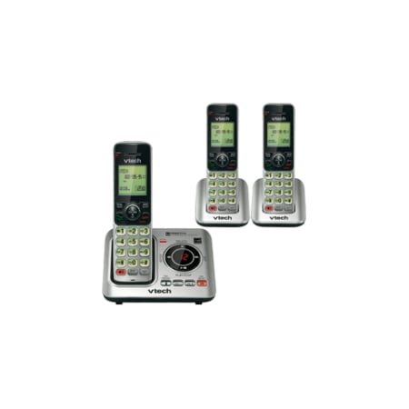 VTech CS6629-3 DECT 6.0 Expandable Cordless Phone with Answering System and Caller ID/Call Waiting, Silver with 3 Handsets - Cordless - 1 x Phone Line - 2 x Handset - Speakerphone - Answering Machine (Cordless Two Line Phone)