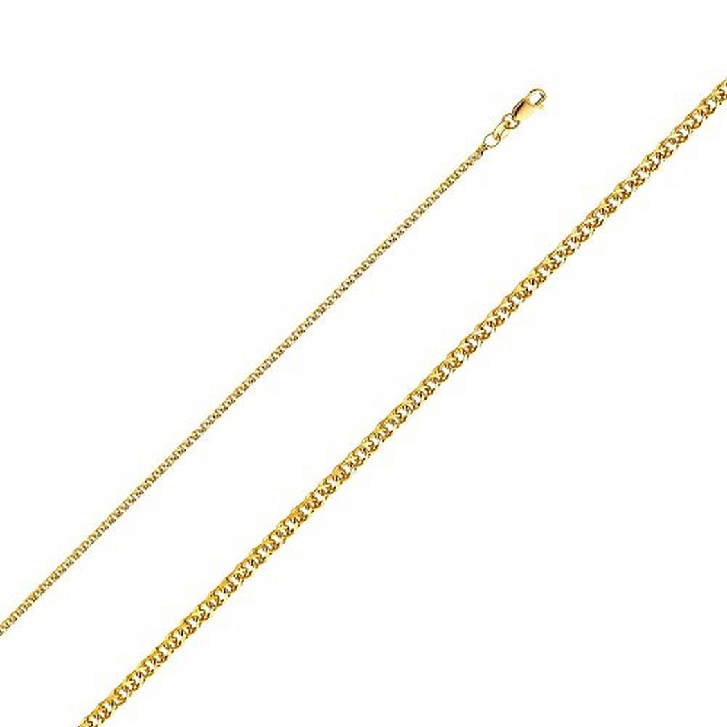 14K Yellow Gold Men Women's 1.7MM Flat Open Wheat Chain Lobster Clasp (20)