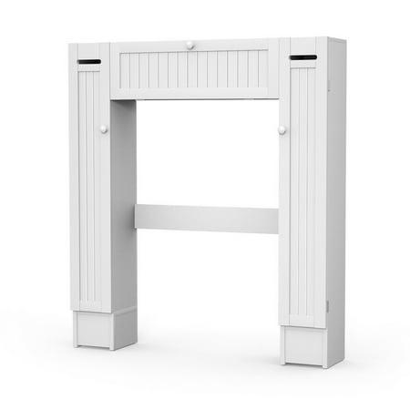 White Cabinet Doors (Costway Wooden Over The Toilet Storage Cabinet Drop Door Spacesaver Bathroom White )