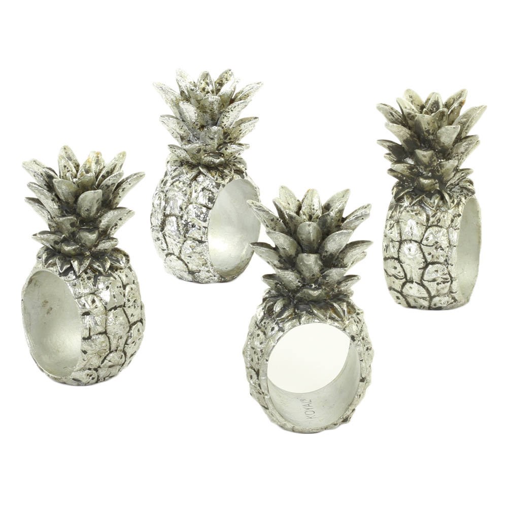 Koyal Wholesale Pineapple, Silver 4-Pack Napkin Rings for Wedding Reception, Dinner Party, Holiday Dinner