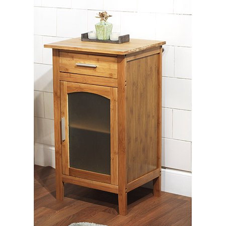 Bamboo linen floor cabinet with glass door 23037nat for Bamboo kitchen cabinets reviews