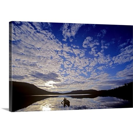 Great Big Canvas Chris Harris Premium Thick Wrap Canvas Entitled Canoeist And Cloudy Sky  Bowron Lake Park  British Columbia  Canada