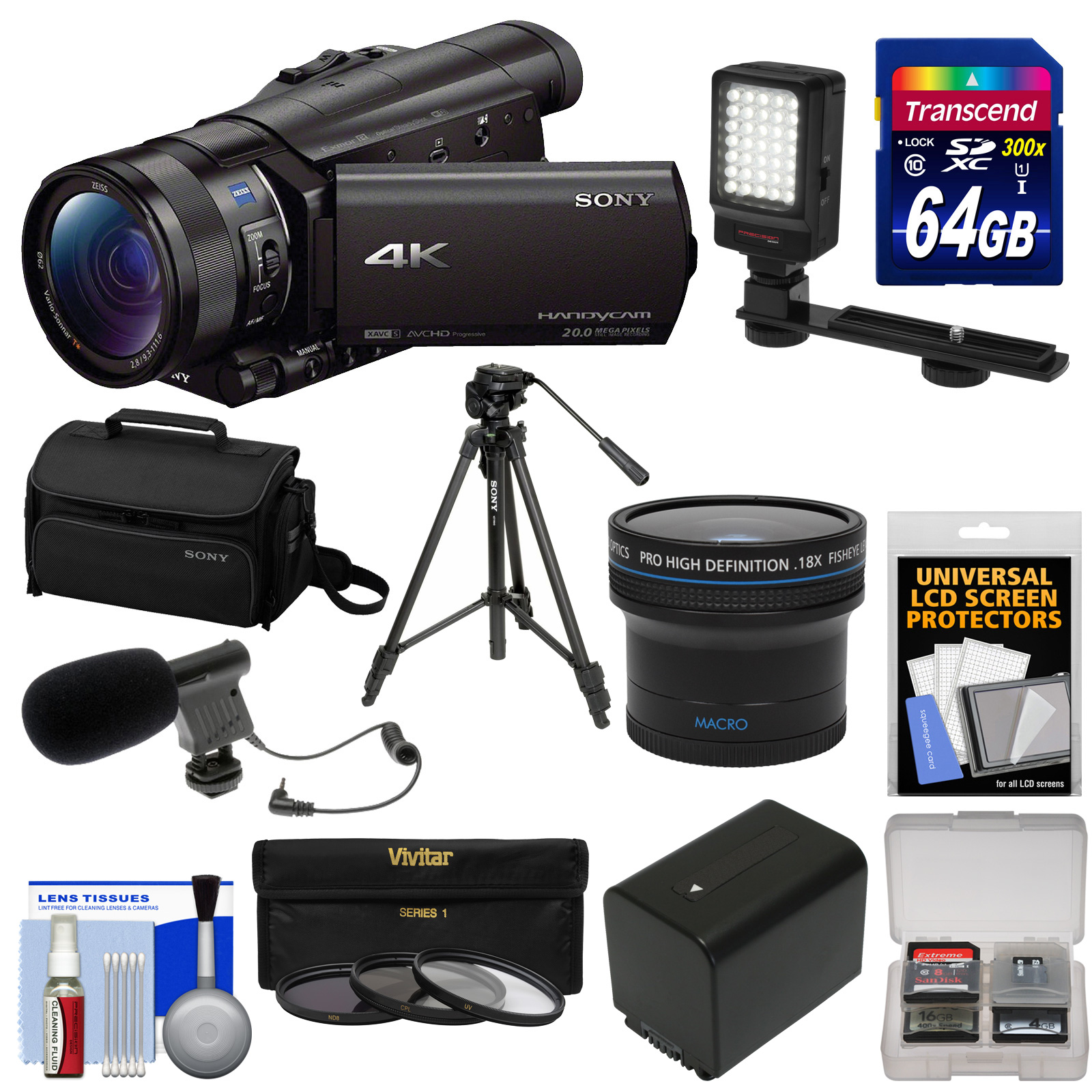 Sony Handycam FDR-AX100 Wi-Fi 4K HD Video Camera Camcorder with 64GB Card + Case + LED Light + Battery + Mic +... by Sony