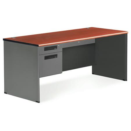OFM Executive Series Model 77366 3-Drawer Single Pedestal Desk with Panel End, Cherry - Executive Series Single Pedestal