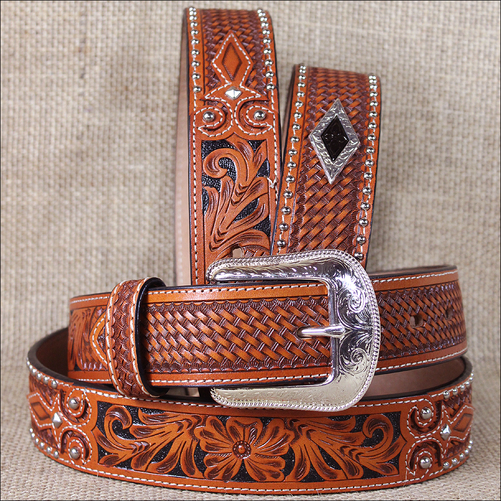 32x1 1/2 inch. 3D NATURAL MENS WESTERN FASHION LEATHER FLORAL BELT REMOVABLE BUCKLE