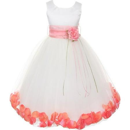 6a16e20be5 dreamer-p - little girls sleeveless satin flower petal sash flowers girls  dresses white white 4 (k16d0b) - Walmart.com