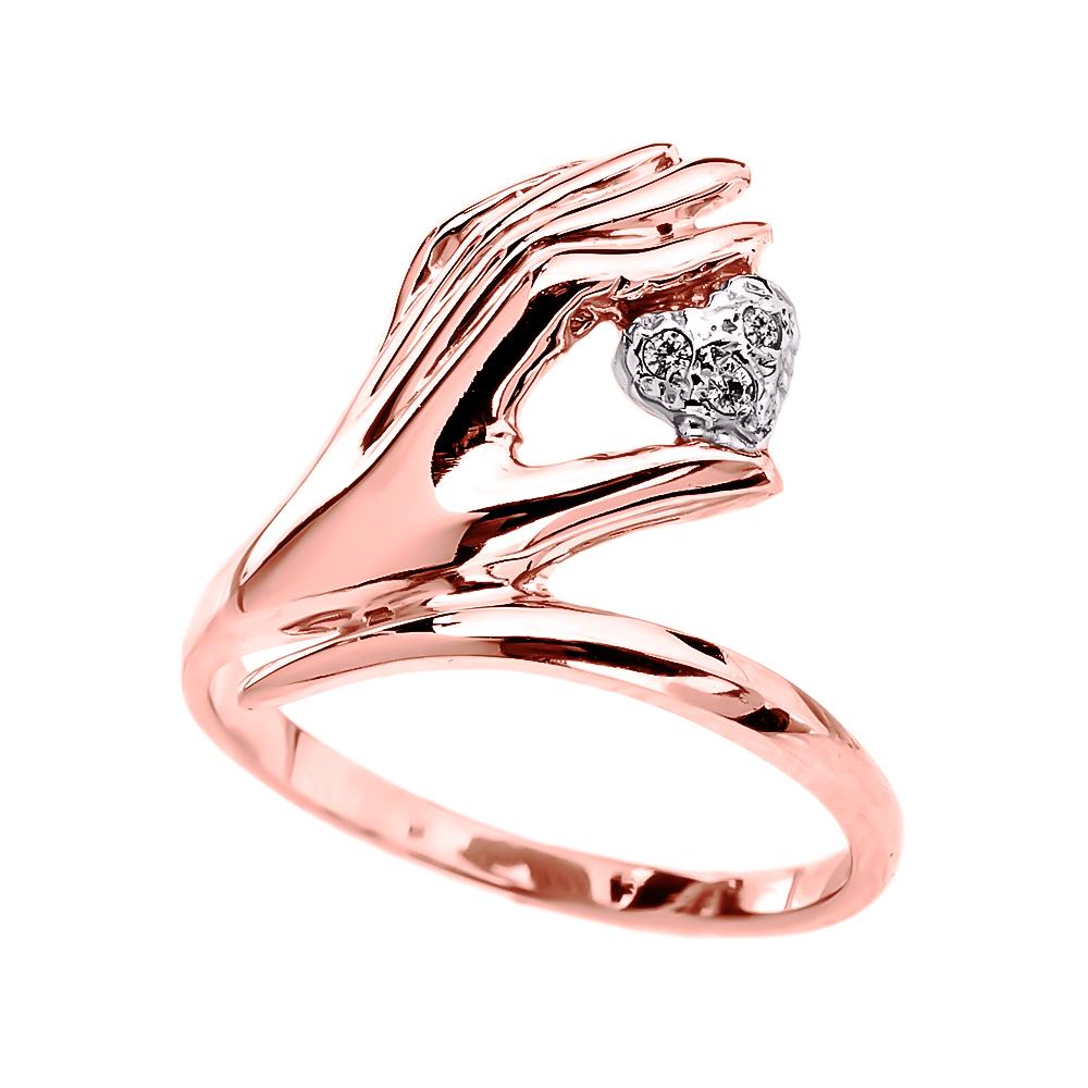 Elegant 14k Rose Gold hand Holding Heart Diamond La s Ring