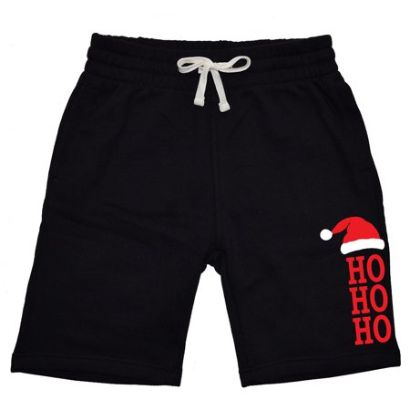 Men's Santa Hat HO HO HO V616 Black Fleece Jogger Sweatpant Gym Shorts Medium Black (Santa Shorts)