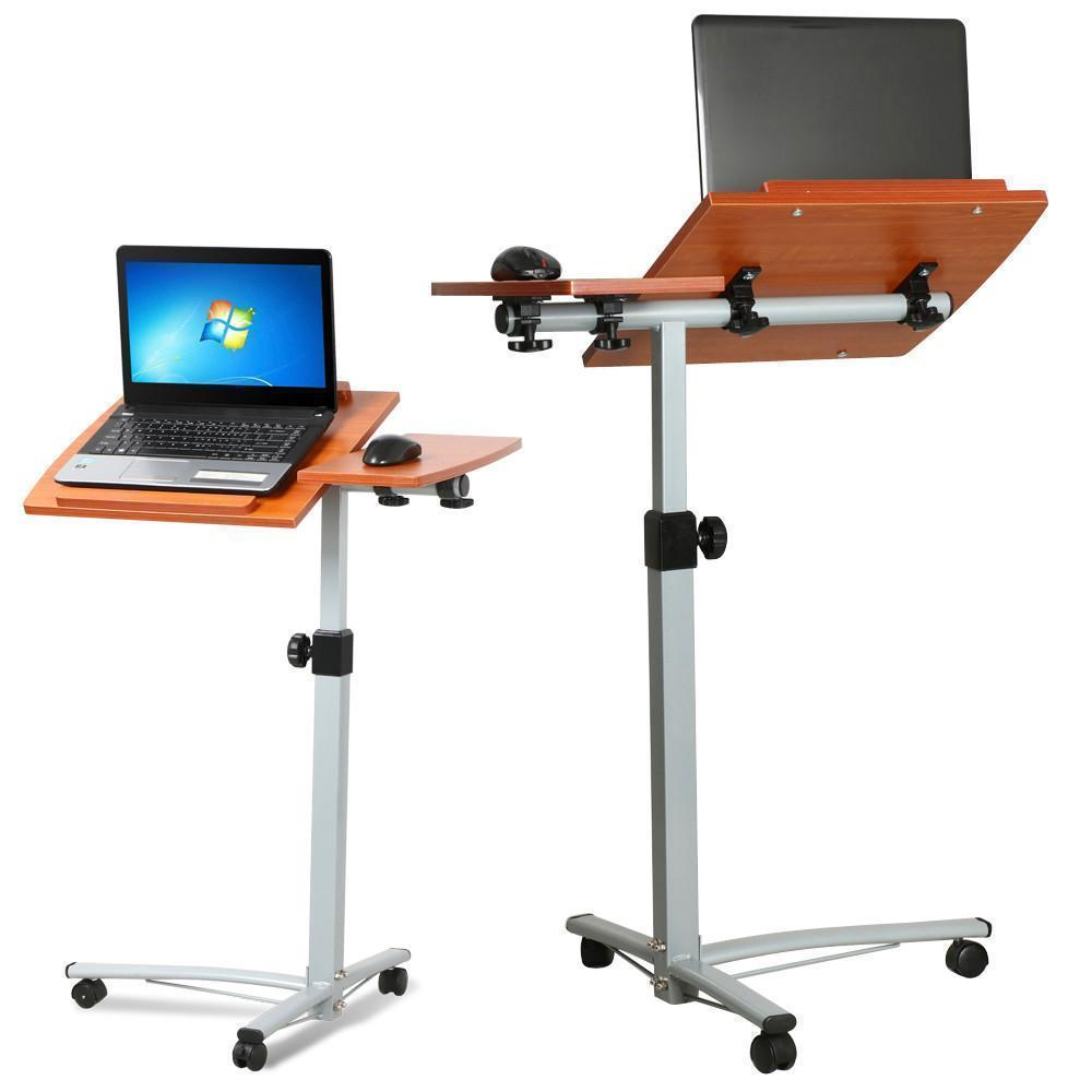 "GHP 25.19""x15.75"" Brown Wood Top & Steel Adjustable Height Stand Rolling Laptop Desk"