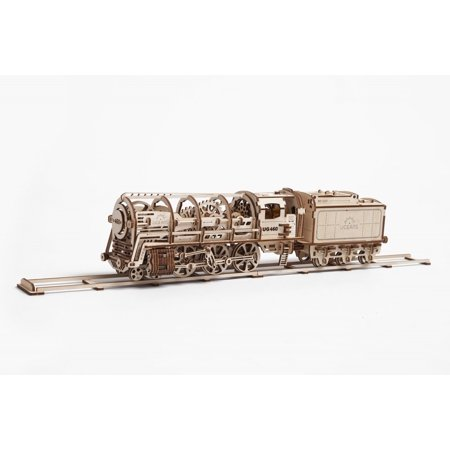 Ugears STEAM LOCOMOTIVE WITH TENDER Mechanical 3D Puzzle Best Eco-Friendly Wooden Gift Set for Kids and
