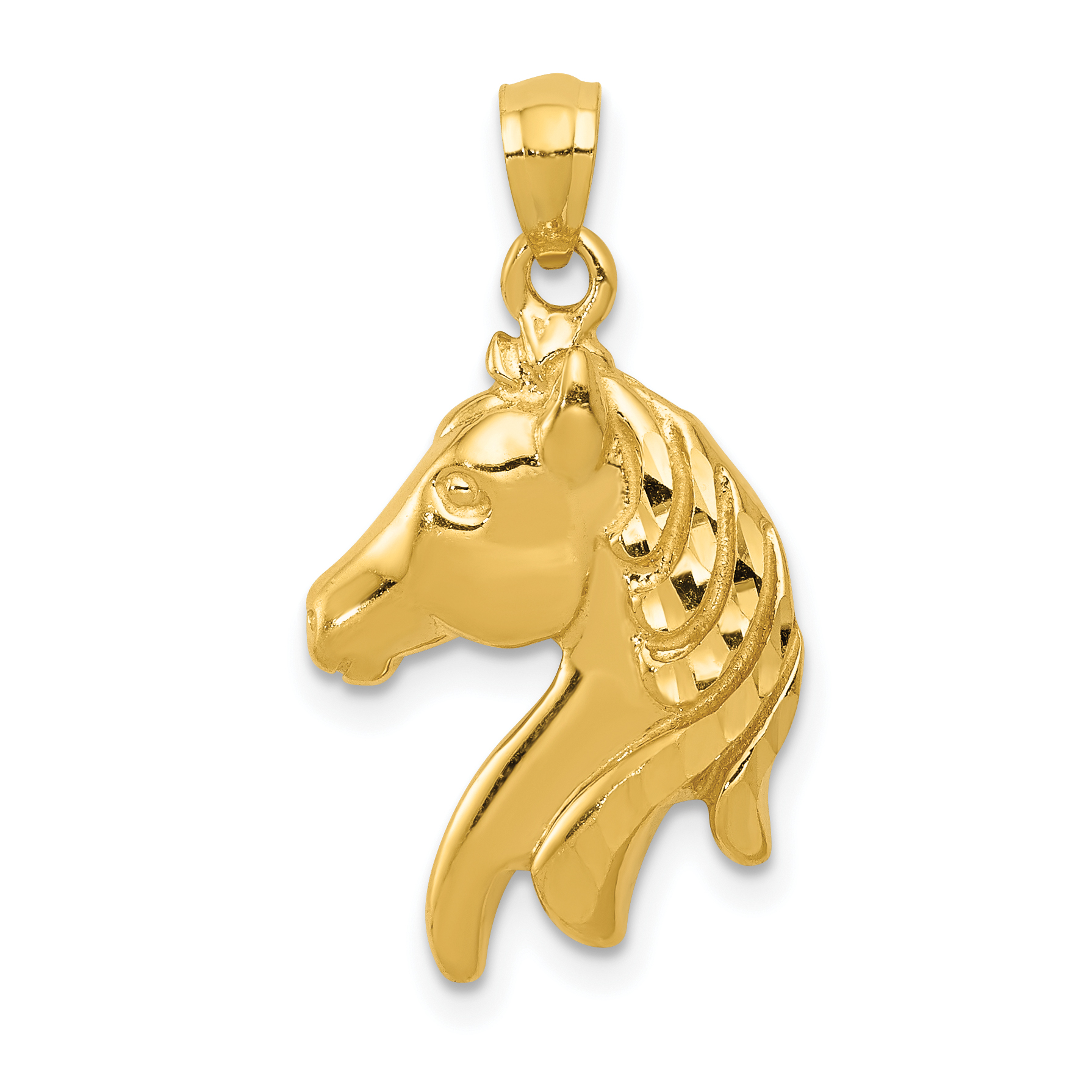 Silver Yellow Plated Horse Shoe And Horse Charm 25mm