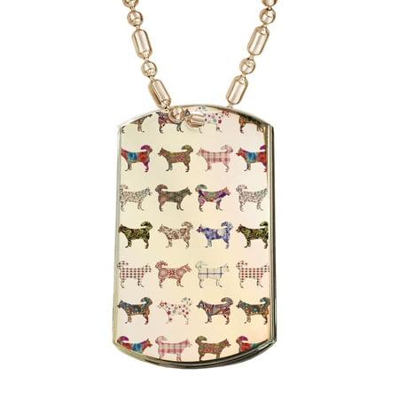 KuzmarK Gold Pendant Dog Tag Necklace - Siberian Husky Dog Gold Dog Tag Necklace