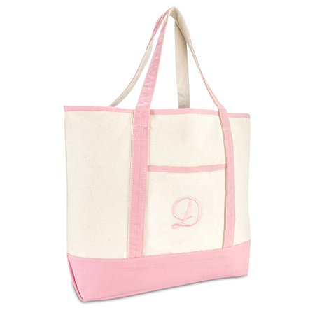 DALIX Women's Cotton Canvas Tote Bag Large Shoulder Bags Pink Monogram