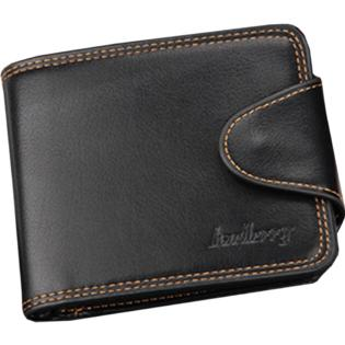Men Cross Section Closure Button Wallet Black
