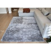 8'x10' Feet Silver Light Gray Light Grey Solid Shag Shaggy Area Rug Carpet Woven Braided Hand Knotted Feizy Accent Fluffy Fuzzy Modern Contemporary Shimmer Sale Decorative