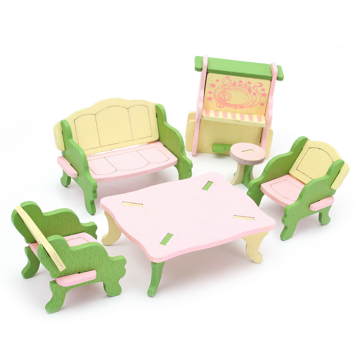 Wooden Doll House Miniature Bedroom Furniture Set Families Role Play Toys Gift
