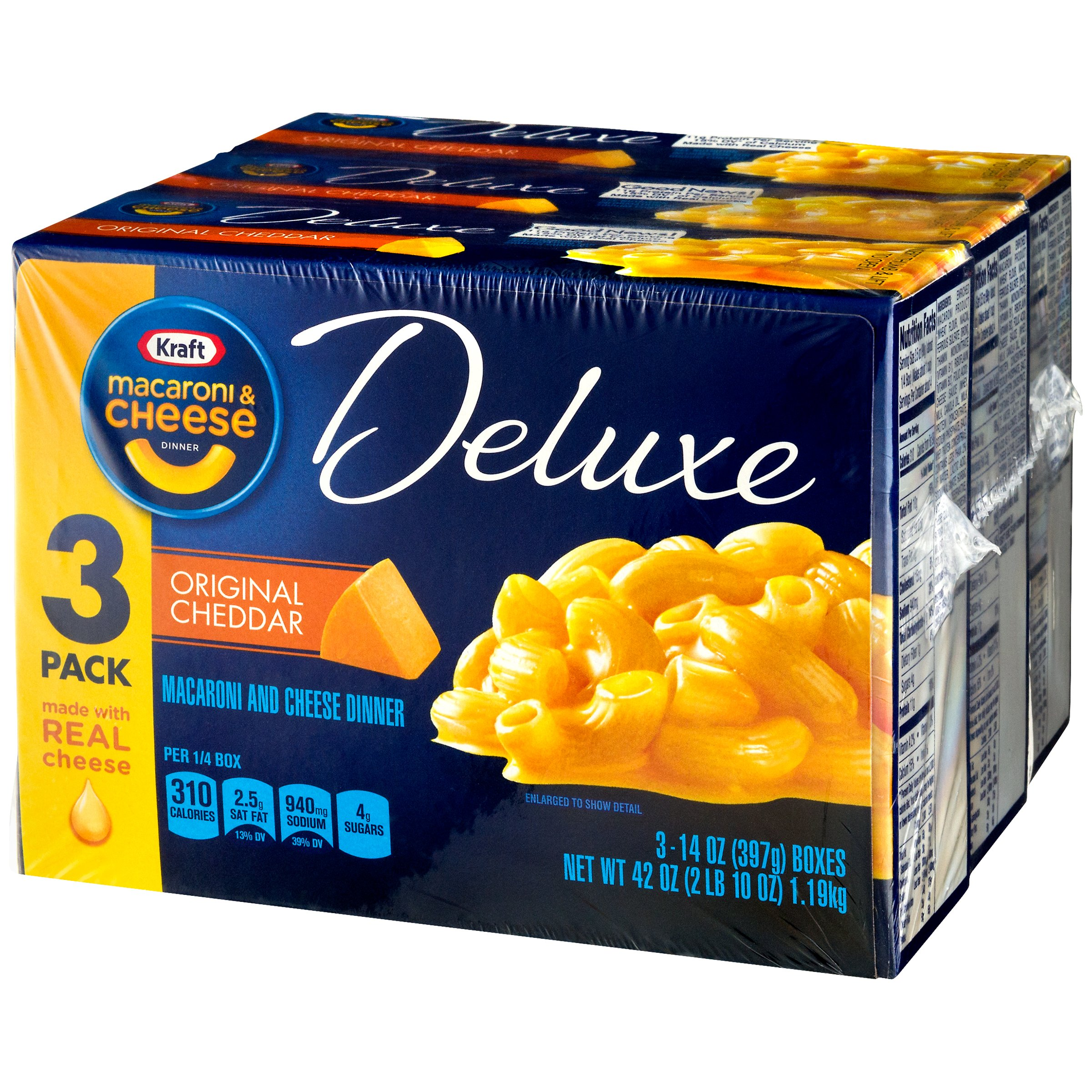 Kraft Deluxe Original Cheddar Macaroni & Cheese Dinner 3-14 oz. Boxes
