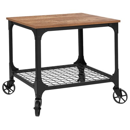 Industrial Rustic Wood Grain Kitchen Bar Cart w/ Wire Rack Bottom If you're short on cabinet space, or just don't want to make several trips to the kitchen when you could be spending time with your guests, you've met your perfect solution in this Industrial Style Kitchen Serving and Bar Cart. The no-fuss design allows you to store small kitchen appliances, tableware or bar items. The wire style bottom shelf adds an industrial appearance while open shelving make it easy to retrieve your things. Manage your kitchen storage by placing essential items on this kitchen utility cart.
