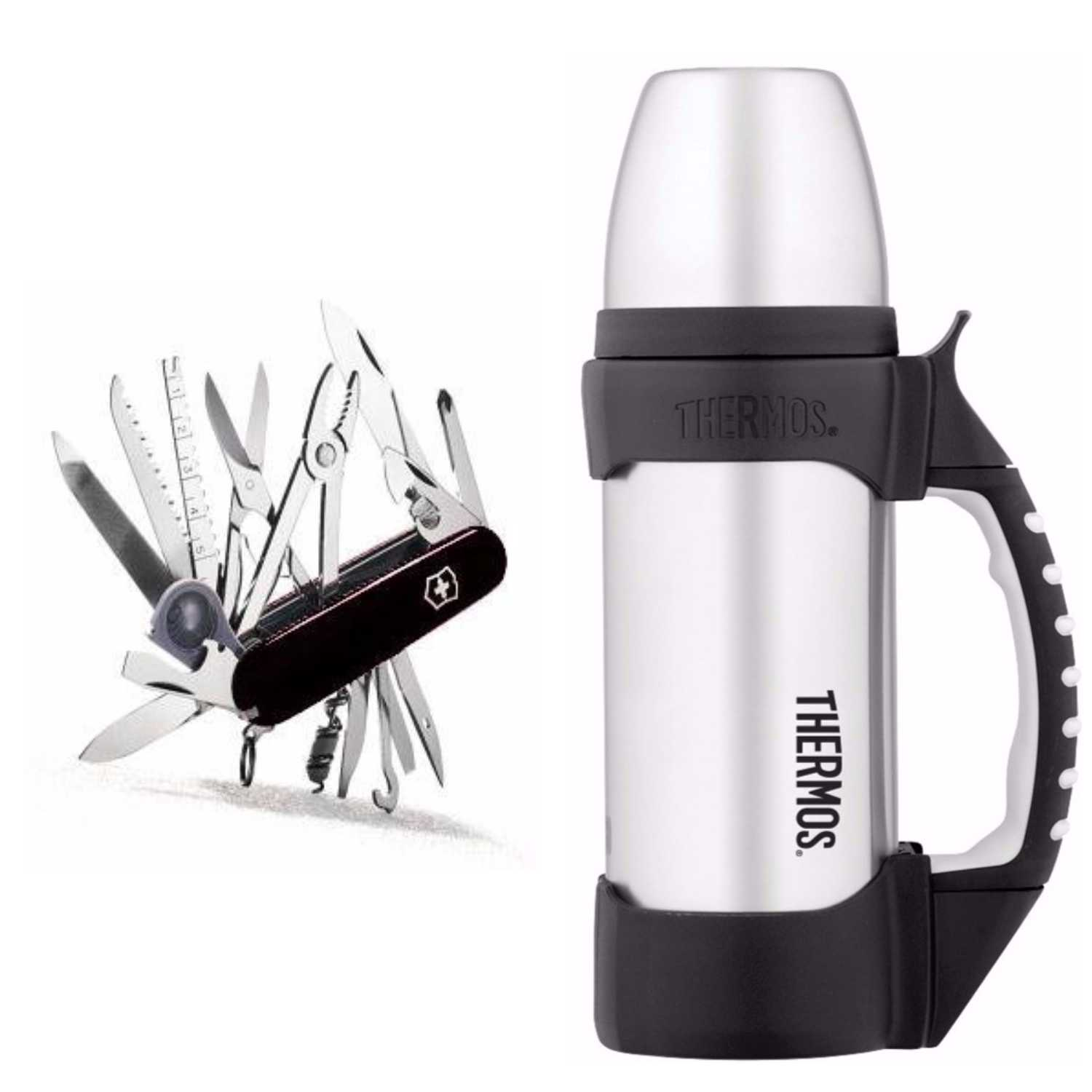 Victorinox Swiss Champ Black Swiss Army Knife with 1.1qt Thermos Beverage Bottle by Victorinox