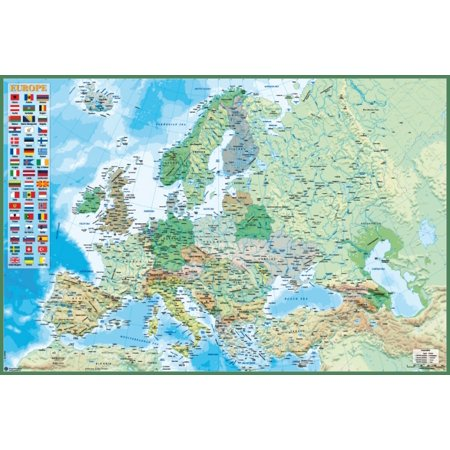 Political And Physical Map Of Europ Hfe Poster Poster Print