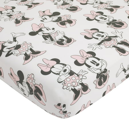 Disney Minnie Mouse Fitted Mini Crib Sheet, Pink, Grey & White