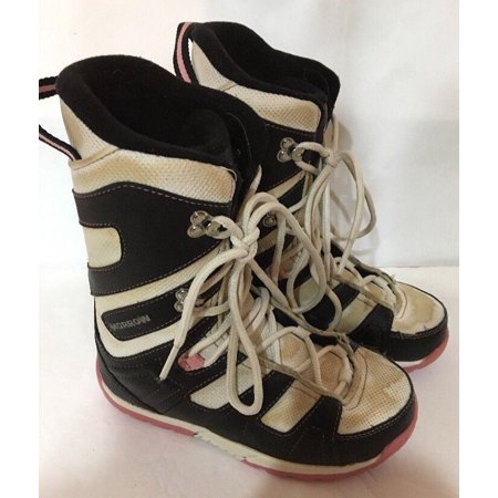 MORROW Blk/White/PINK Girls/Womens Size 4 Snowboard Boots-RARE VINTAGE-SHIPS N24