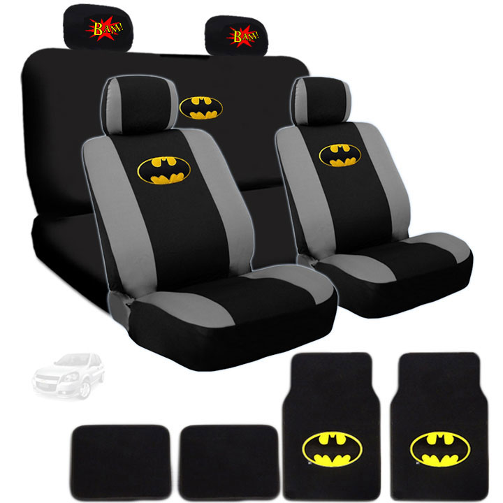 Ultimate Batman Car Seat Covers And Carpet Floor Mats Bundled with Classic Comic Book BAM! Logo Headrest Covers Gift Set Shipping Included