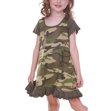 Kavio! Little Girls 3-6X Camouflage A-Line Short Sleeve Dress Camo Army Green 5/6