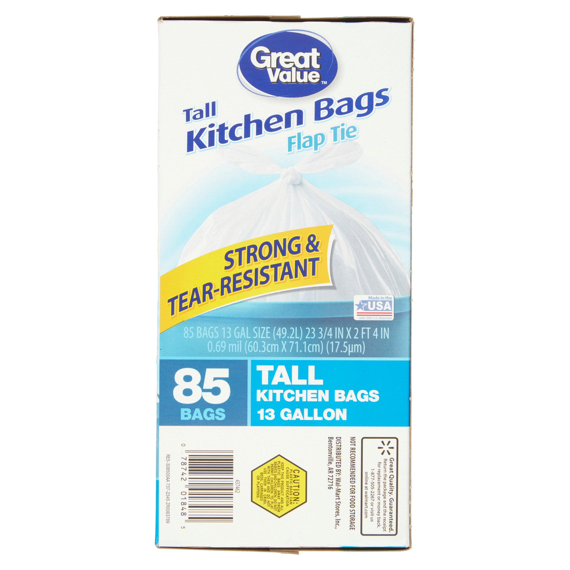 Great Value Flap Tie Tall Kitchen Trash Bags, 13 Gallon, 85 Ct ...