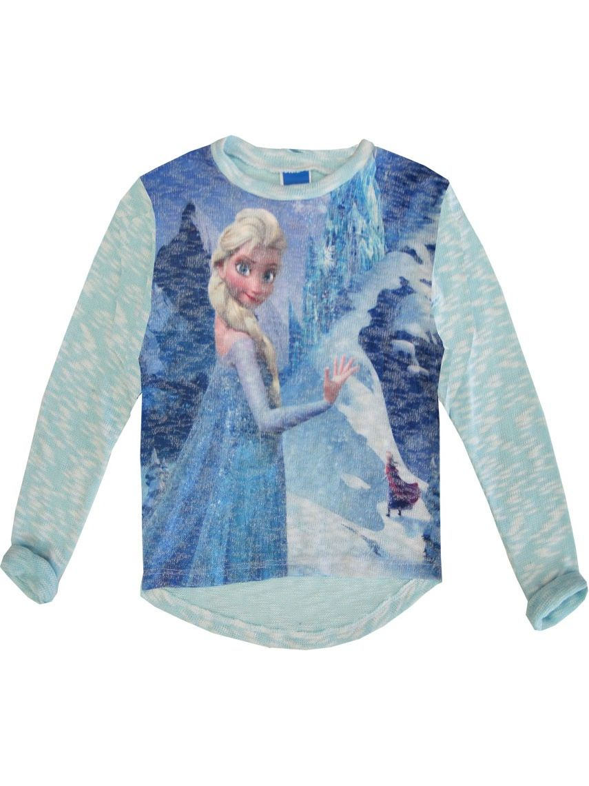 Disney Little Girls Blue Elsa Frozen Winter Print Long Sleeved Top 4-6X