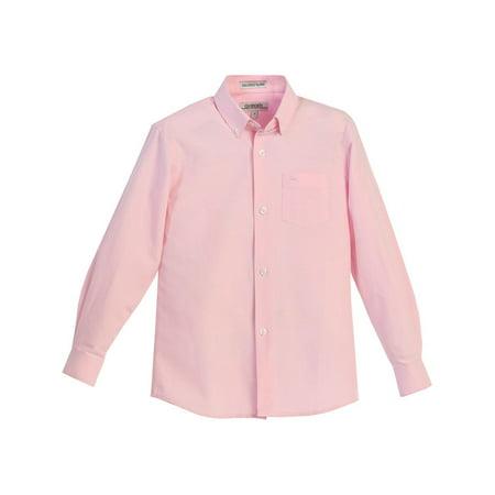 Gioberti Boys Pink Chest Pocket Long Sleeved Oxford Dress Shirt