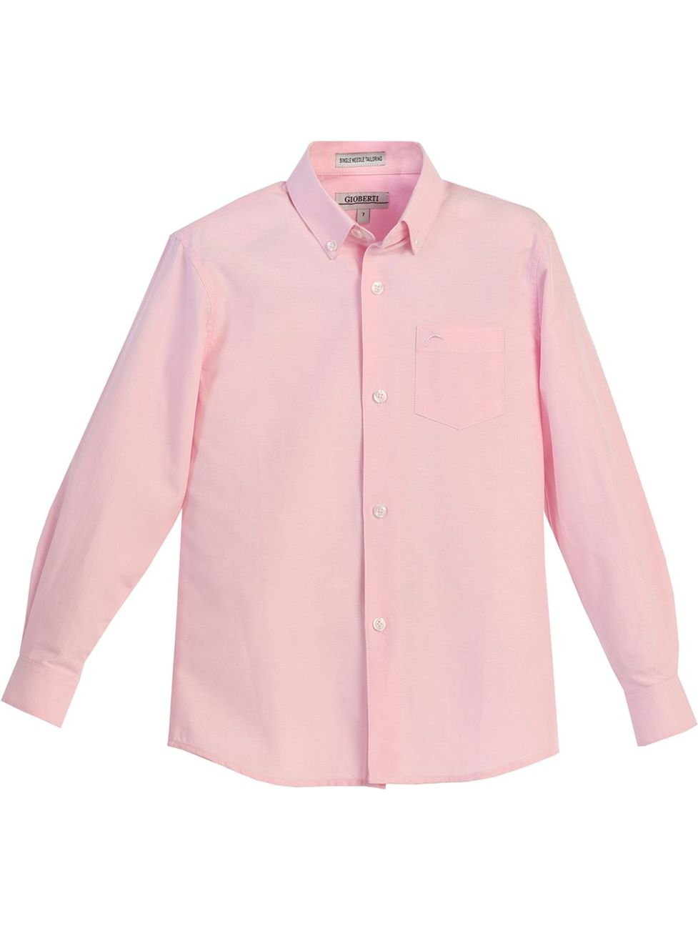 Gioberti Boys Pink Chest Pocket Long Sleeved Oxford Dress Shirt