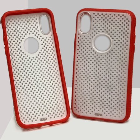 iPhone X Dotted Plastic Case - White / Red - image 1 of 1