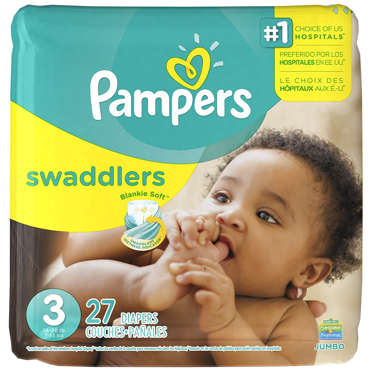 Swaddlers Diapers - Size 3 - 27 ct, ship from USA,Brand Pampers