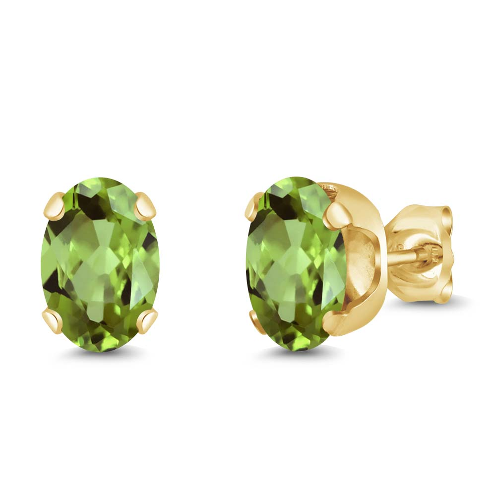 1.60 Ct Oval 7x5mm Green Peridot 18K Yellow Gold Plated Silver Stud Earrings