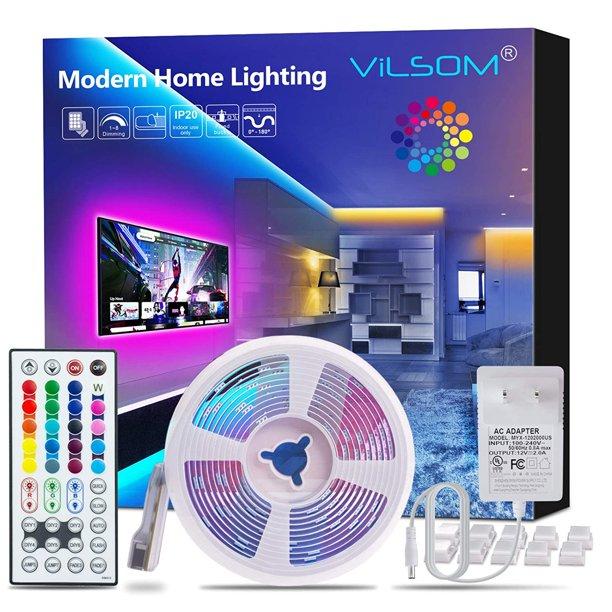 Vilsom Led Strip Lights 16 4ft With 44 Keys Remote And 12v Power Supply Dimmable Led Lights For Bedroom Room Tv Ceiling Color Changing Rgb 5050 Leds Strip Bias Lighting Walmart Com Walmart Com