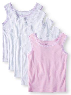 Wonder Nation Super Soft 100% Cotton Tank Tops, 5-pack (Toddler Girls)