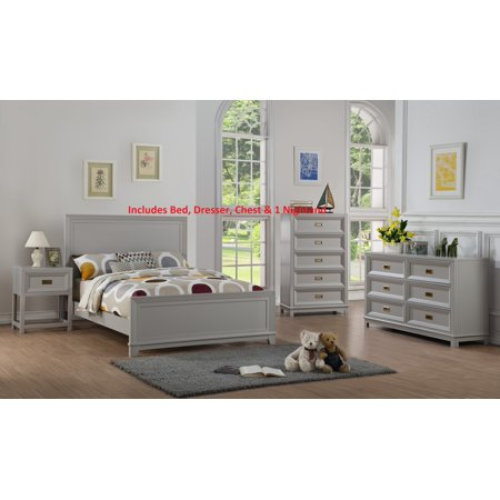 Victoria 4 Piece Twin Size Gray Wood Contemporary Kids Bedroom Set ...