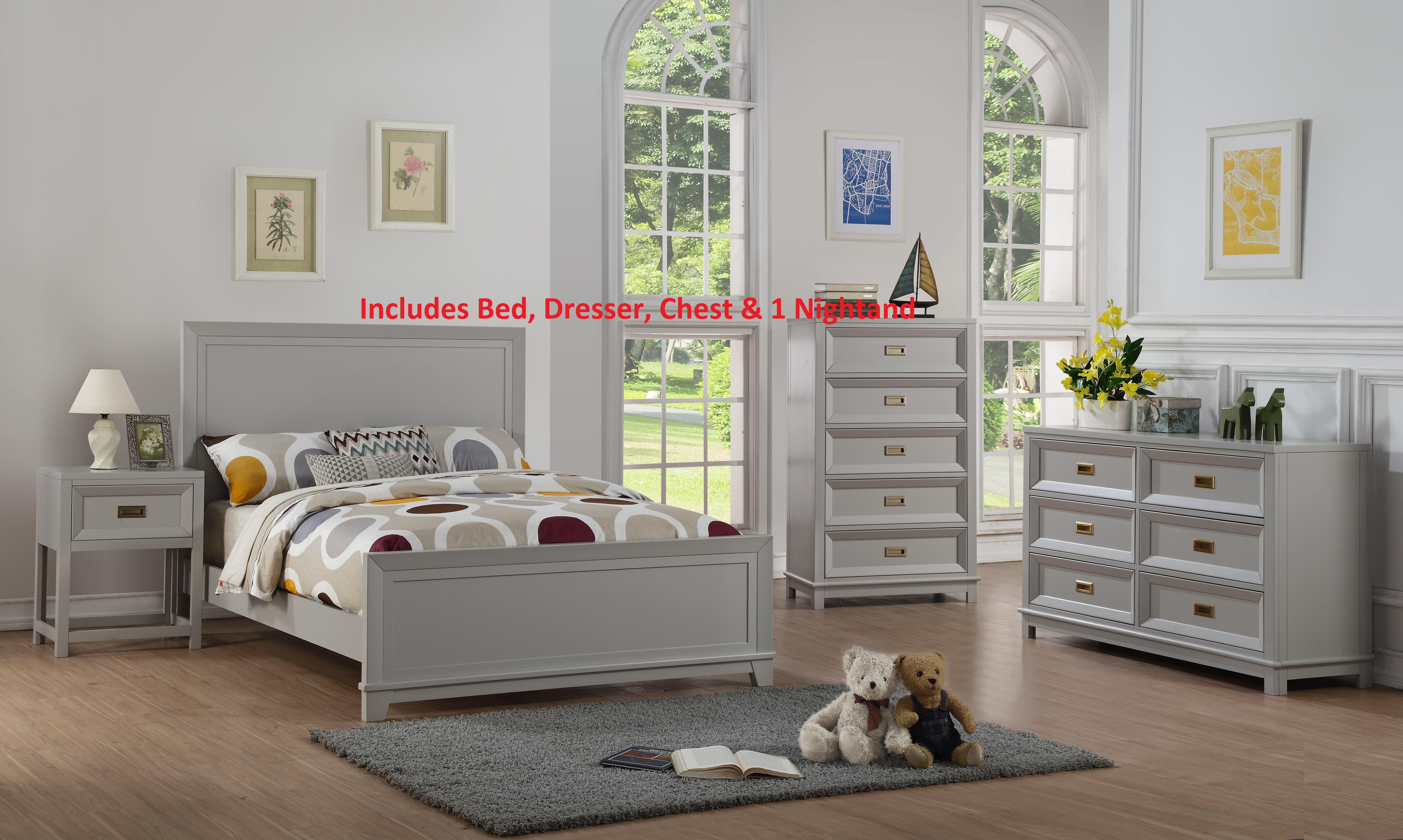 Product Image Victoria 4 Piece Twin Size Gray Wood Contemporary Kids  Bedroom Set (Panel Bed, Dresser