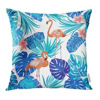 USART Green Branch of Flamingo Leaves Monstera Tropical Palm Tree Climate Environment Pillowcase Cushion Cases 20x20 inch
