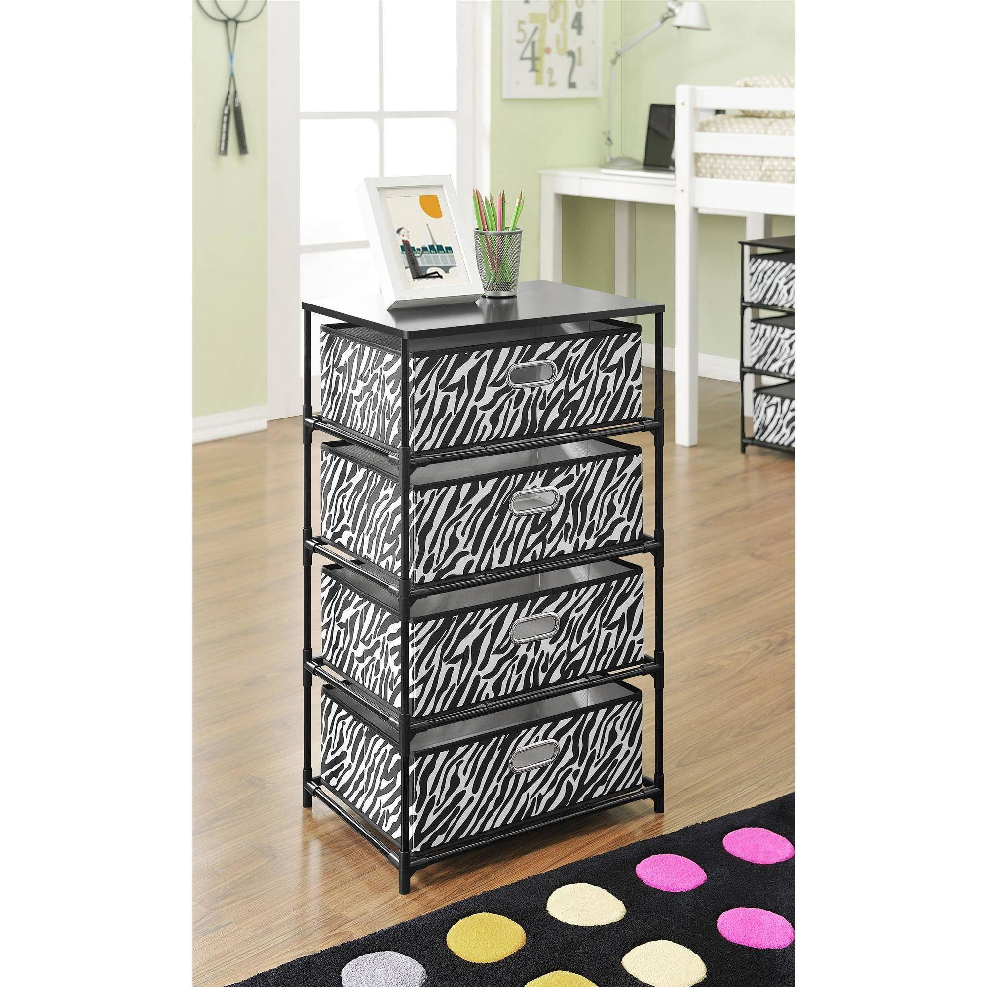 Altra 4-Bin Storage End Table, Black/Zebra