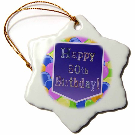 3dRose Balloons with Purple Banner Happy 50th Birthday - Snowflake Ornament, 3-inch - 50th Birthday Banners And Balloons