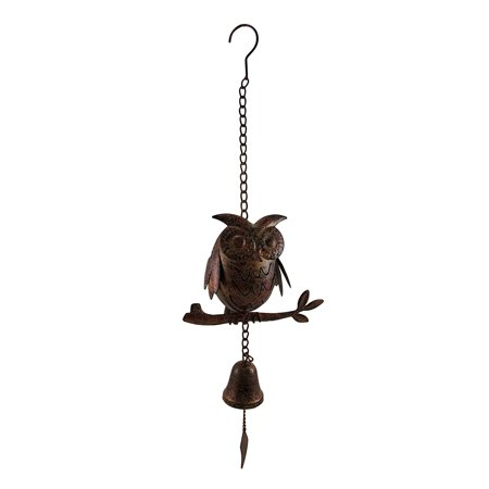 Decorative Metal Owl Mottled Finish Wind Chime Sculpture