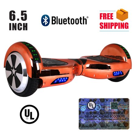 Ul 2272 Listed 6 5  Hoverboard Top Led Two Wheel Self Balancing Scooter With Bluetooth Speaker Chrome Rosegold
