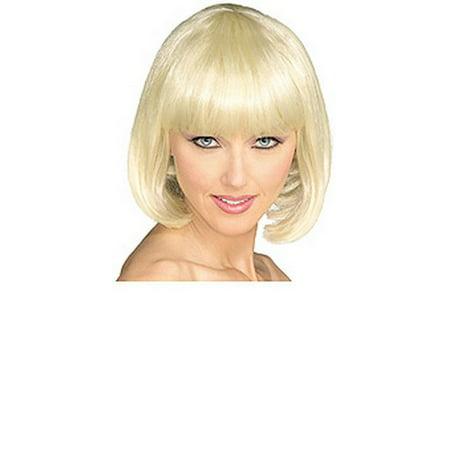 Adult Blonde Short Strait Bob Super Model Costume Wig Short Flip Wig